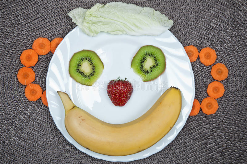 Rolig mat Bananleende royaltyfri fotografi