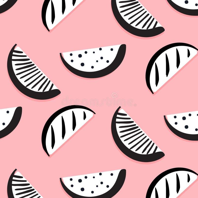 Rolig modell för vektorsommar med monokromma vattenmelonskivor Svart vit bärbakgrund Fruktmatdesign Exotisk vektorkonst vektor illustrationer
