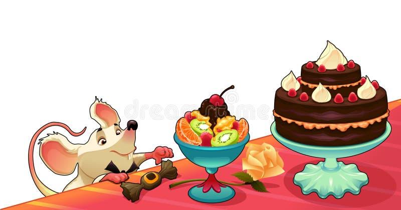 Rolig mus med kakan för kort och diagram stock illustrationer