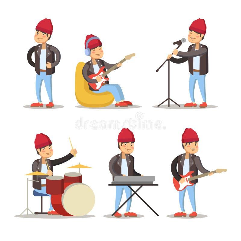Rolig musikertecknad film leka för gitarrman hår för flickan för kvinnlign för bakgrundsbandet som spåriner blont ner lägger sång vektor illustrationer