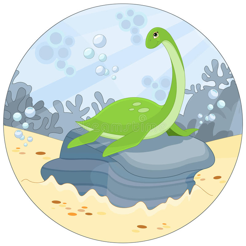 Rolig Nessie royaltyfri illustrationer
