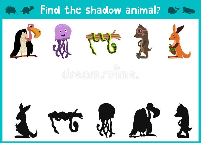 Rolig och färgrik pussellek för barns fynd för utveckling var hjortar, en randig jordekorre och en fisk Utbildningslabyrinter för vektor illustrationer