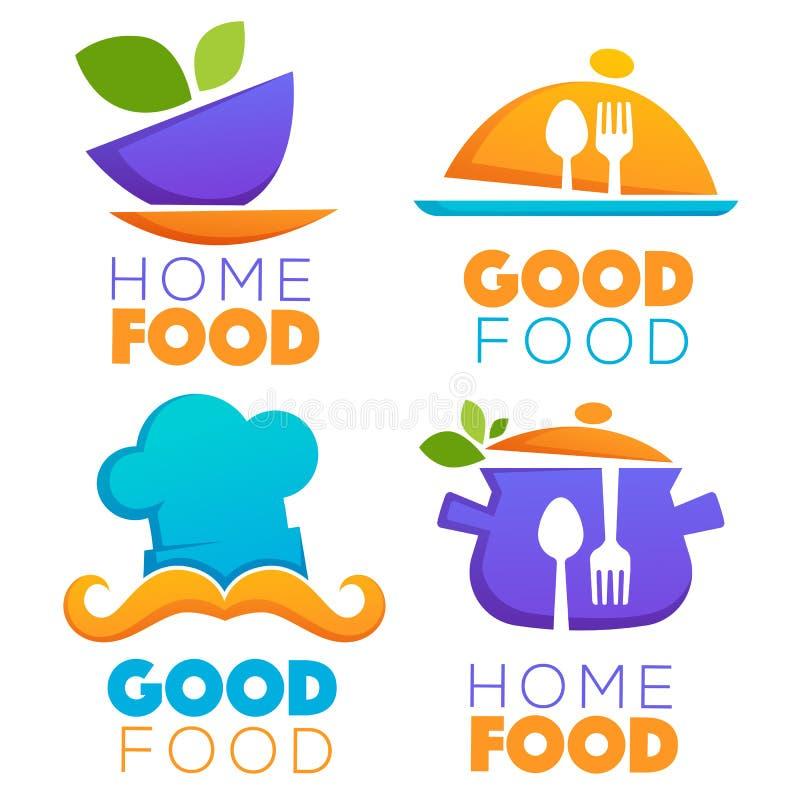 Rolig och glansig mat- och matlagninglogo royaltyfri illustrationer