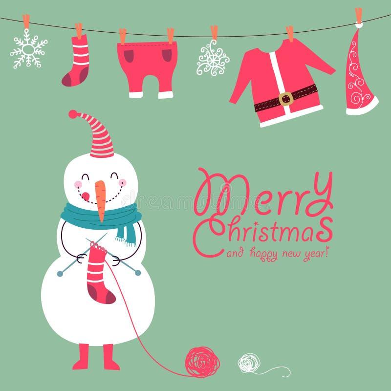 Rolig och gullig julkort stock illustrationer