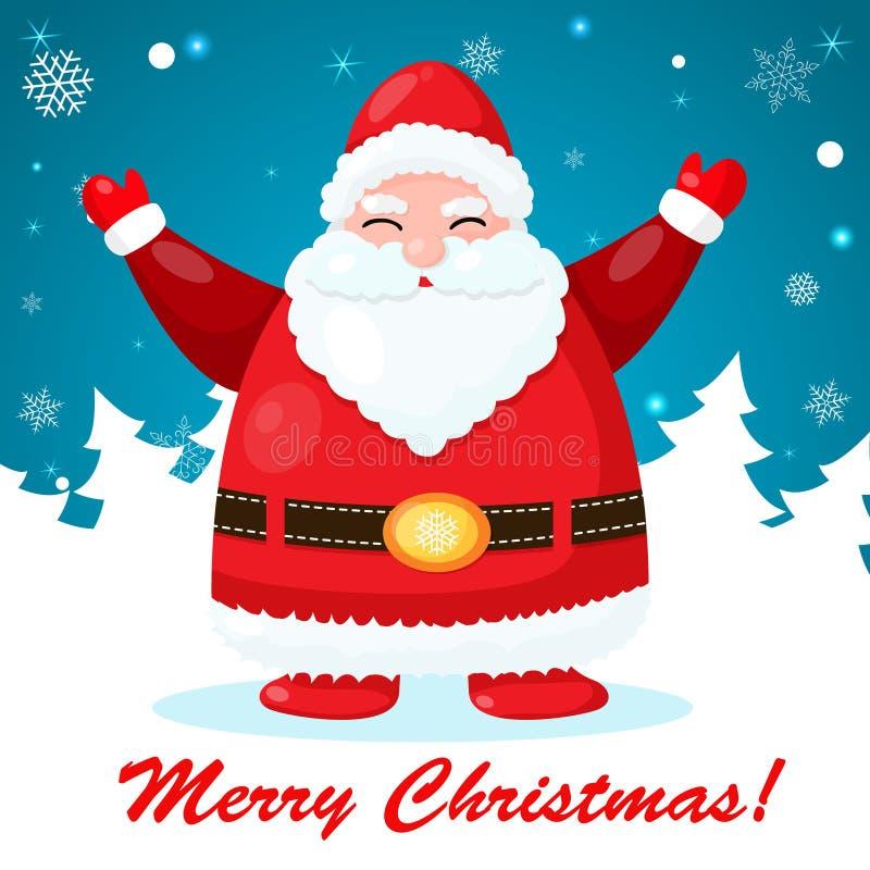 Rolig och gullig julkort med jultomten vektor illustrationer