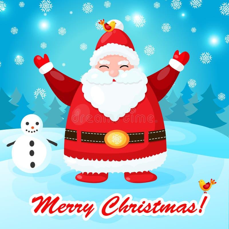 Rolig och gullig julkort med jultomten royaltyfri illustrationer