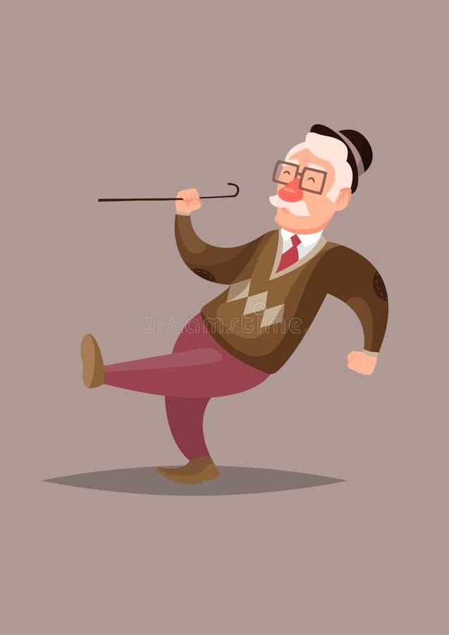 Rolig och gullig vektorillustration av den lyckliga gamala mannen stock illustrationer