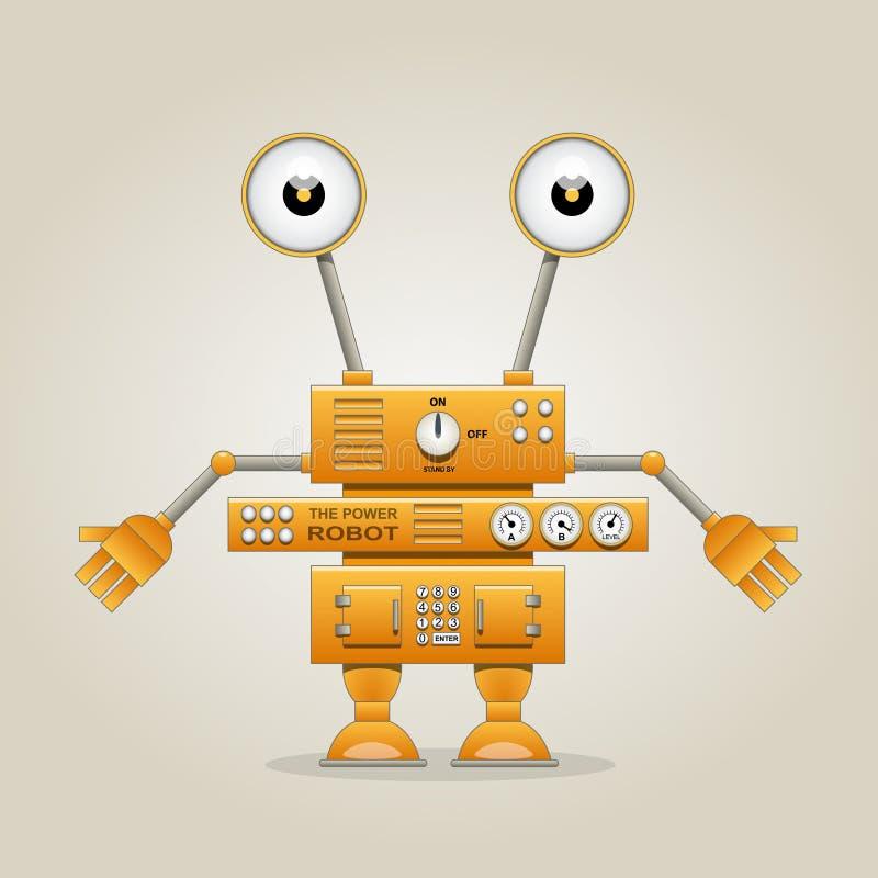 Rolig orange robot vektor illustrationer