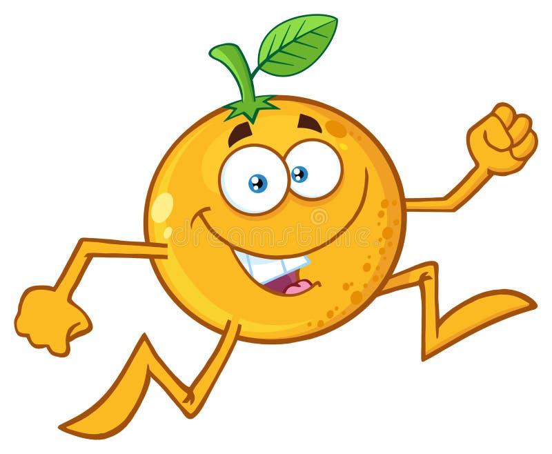 Rolig orange spring för tecken för frukttecknad filmmaskot vektor illustrationer