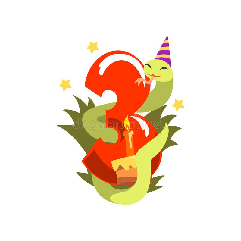 Rolig orm i partihatt och nummer tre, lycklig födelsedag, årsdagnummer med den gulliga djura teckenvektorn royaltyfri illustrationer