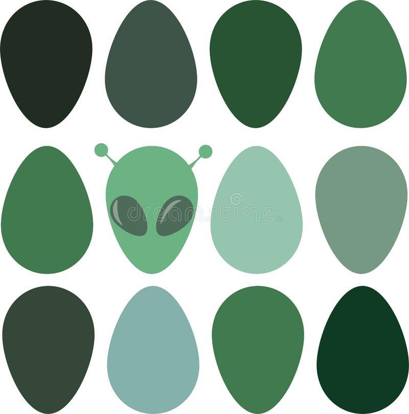 Rolig påskbakgrund med ägg och främlingar stock illustrationer
