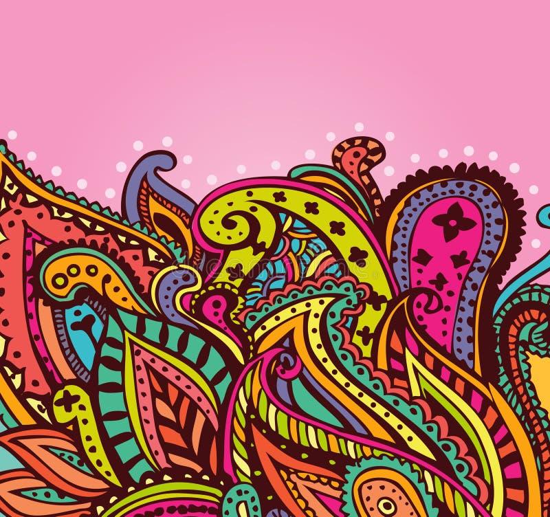 Rolig paisley bakgrund stock illustrationer