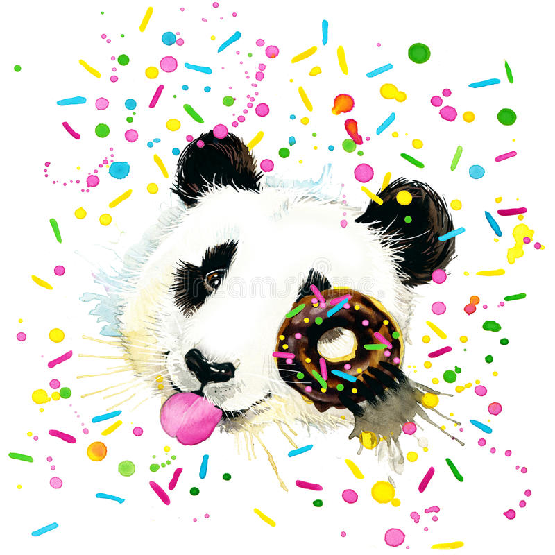 Rolig Panda Bear vattenfärgillustration vektor illustrationer