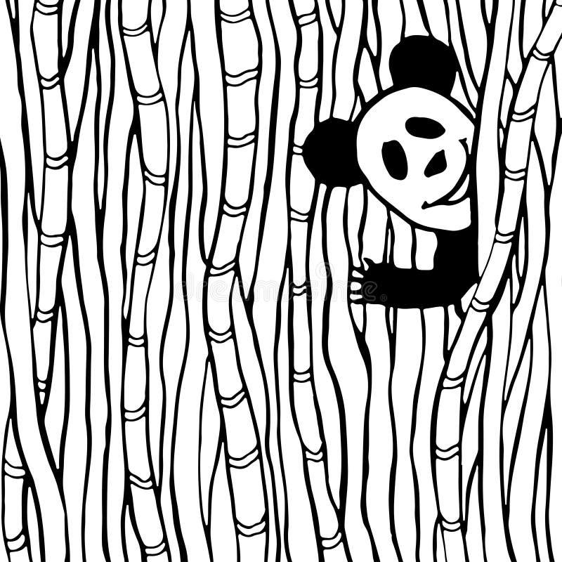 Rolig panda i sidan för bok för bambuskogfärgläggning illustrationen lurar vektorn royaltyfri illustrationer