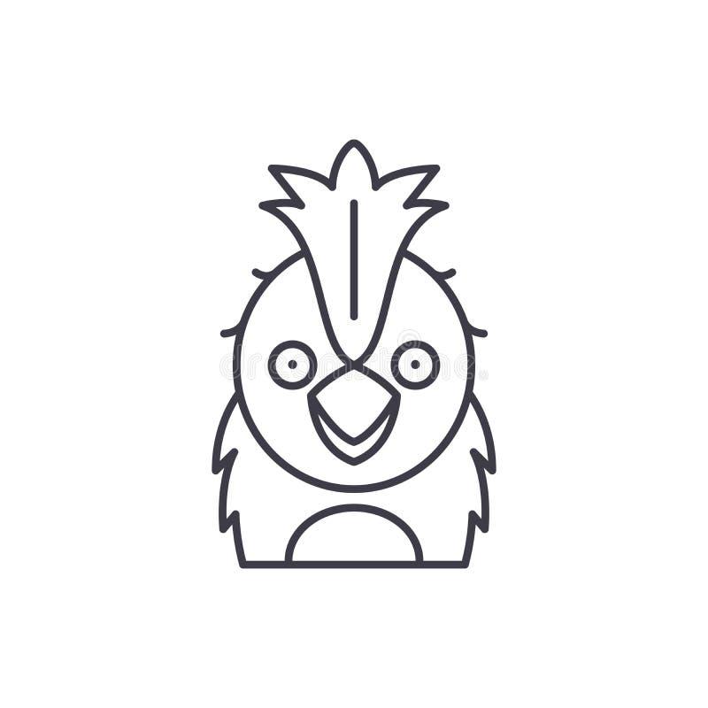 Rolig papegojalinje symbolsbegrepp Linjär illustration för rolig papegojavektor, symbol, tecken royaltyfri illustrationer
