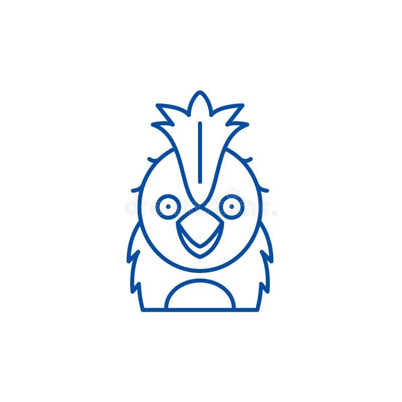 Rolig papegojalinje symbolsbegrepp Plant vektorsymbol för rolig papegoja, tecken, översiktsillustration stock illustrationer