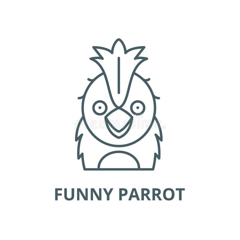 Rolig papegojavektorlinje symbol, linjärt begrepp, översiktstecken, symbol royaltyfri illustrationer
