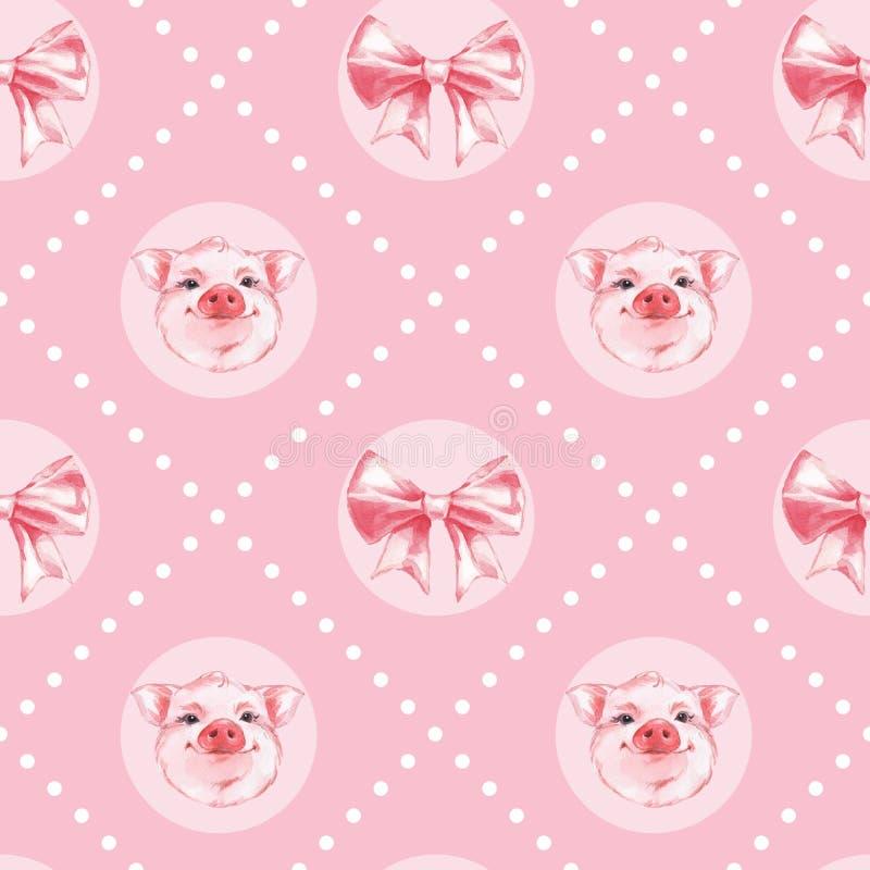 rolig pig Sömlös modell 2 för rosa vattenfärg stock illustrationer