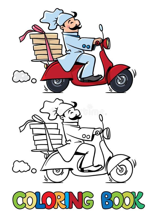 Rolig pizzakock på sparkcykeln för färgläggningdiagram för bok färgrik illustration stock illustrationer