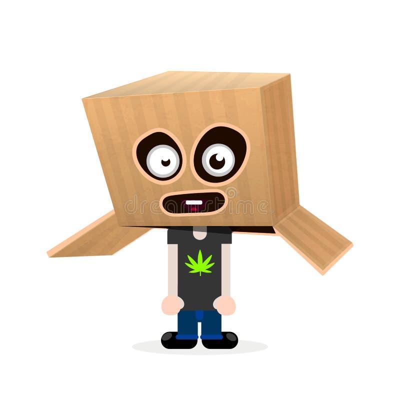 Rolig pojke med en ask på hans huvud lyckliga halloween vektor illustrationer