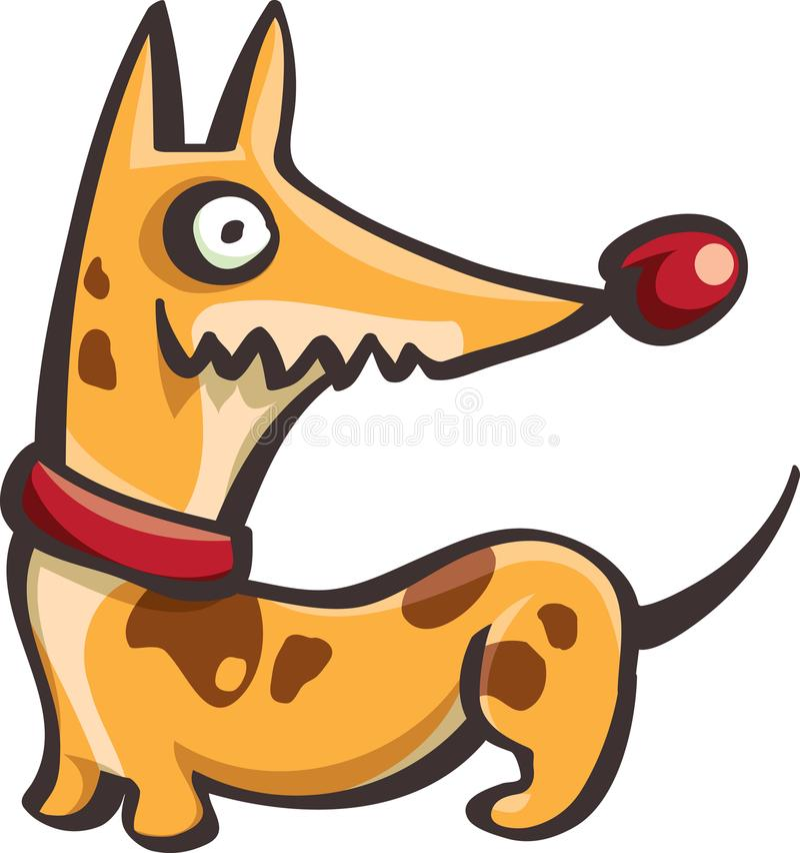 Rolig prickig hund i krage royaltyfri illustrationer