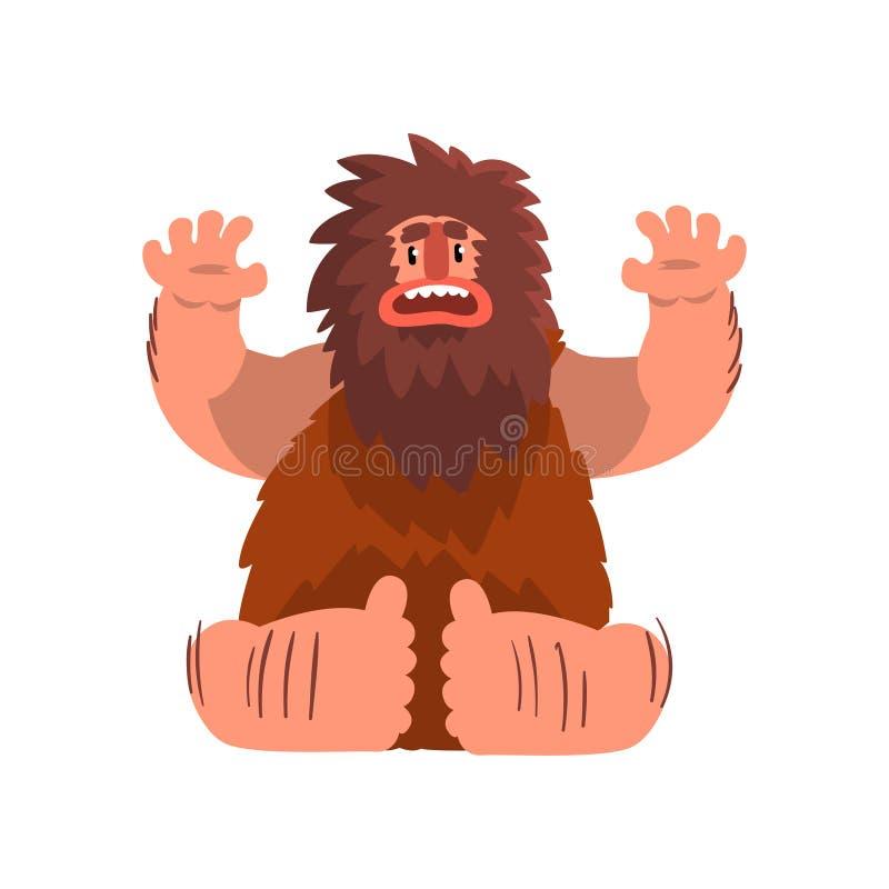 Rolig primitiv grottmänniska, illustration för vektor för tecknad film för tecken för man för stenålder förhistorisk på en vit ba royaltyfri illustrationer