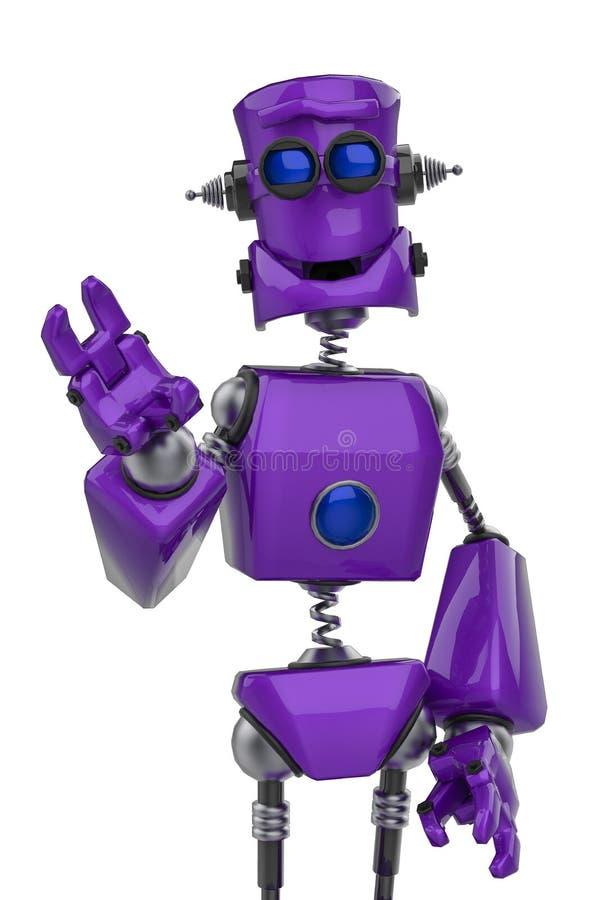 Rolig purpurfärgad robottecknad film som säger hälsningar i en vit bakgrund vektor illustrationer