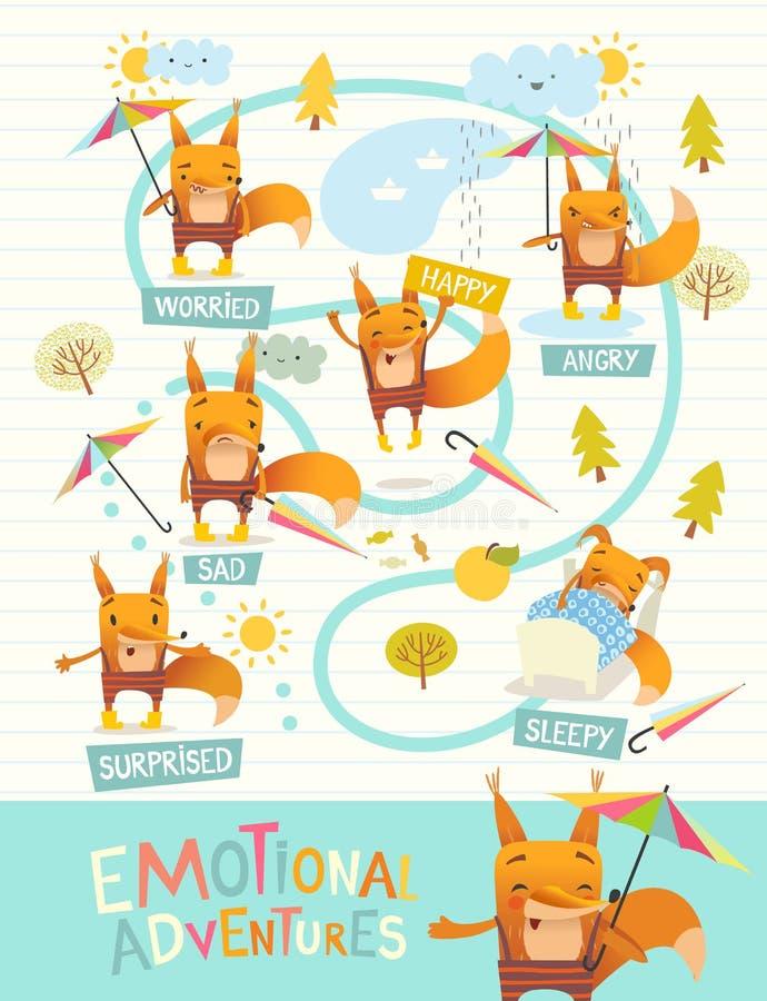 Rolig räv med det färgrika paraplyet som uttrycker olika sinnesrörelser Ansiktsuttryck för ` s för tecknad filmtecken Emotionell  stock illustrationer