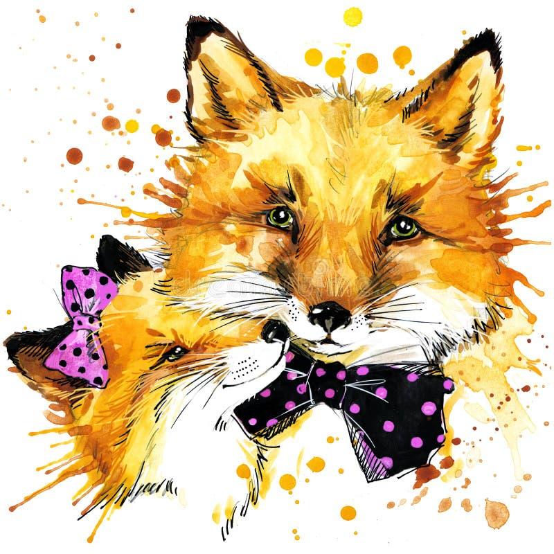 Rolig räv, vattenfärgbakgrund royaltyfri illustrationer