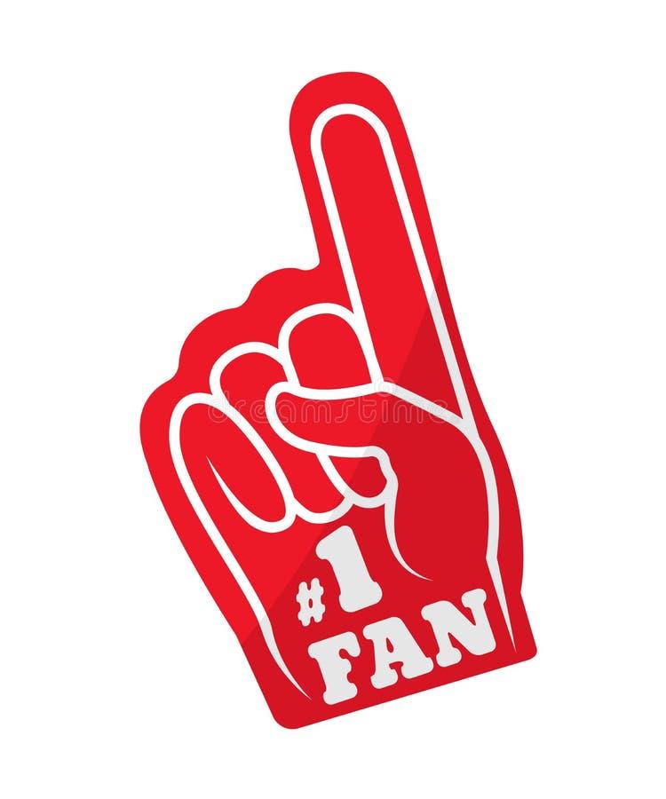 Rolig röd handske för sportar av fanen i form av fingret royaltyfri illustrationer