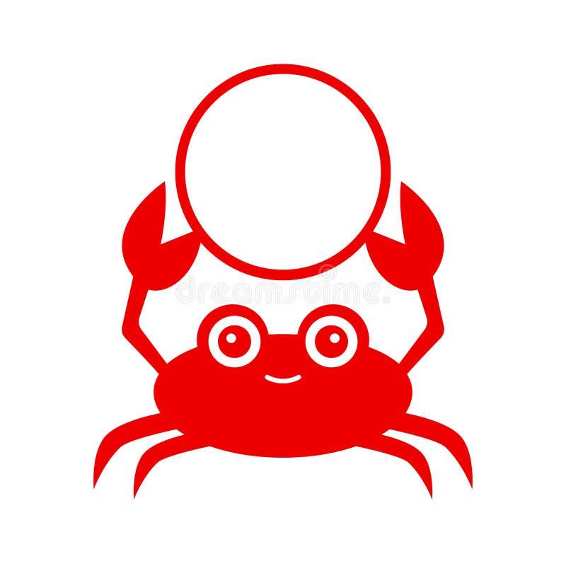 Rolig röd krabba Krabbakontur Vektorsymbol som isoleras på vitbakgrund stock illustrationer