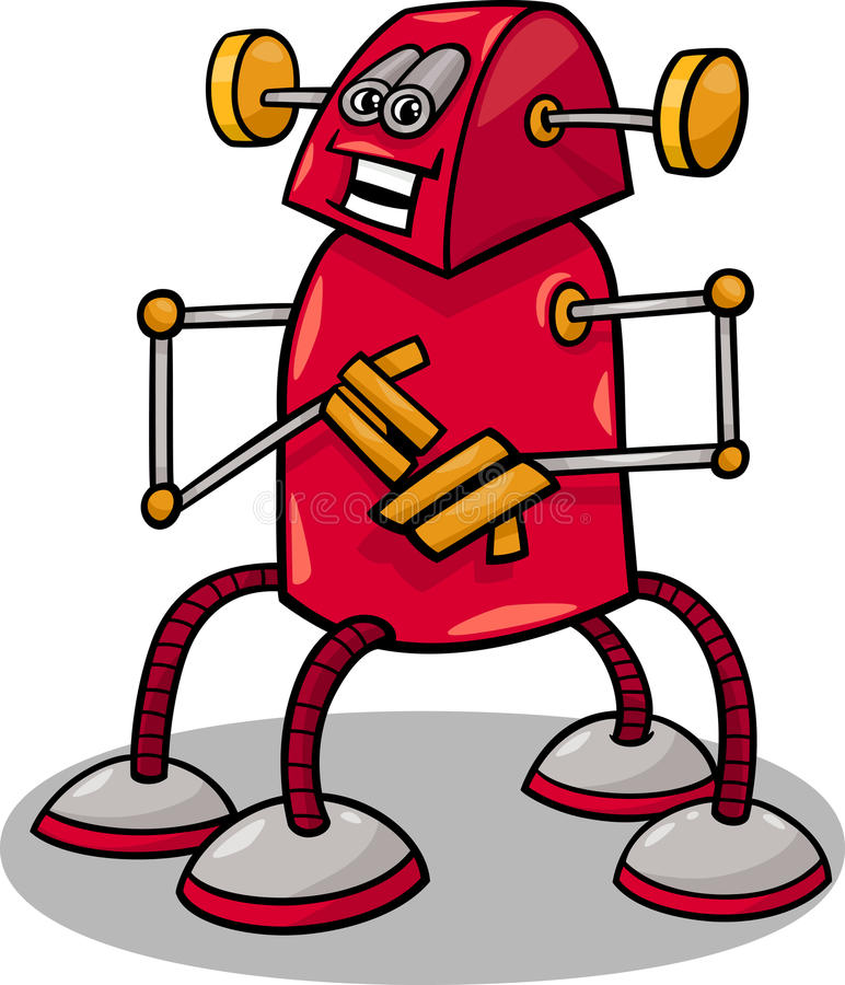 Rolig robot- eller droidtecknad filmillustration stock illustrationer