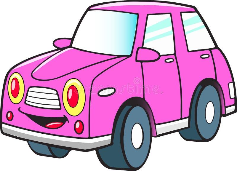 Rolig rosa tecknad filmbil royaltyfri illustrationer
