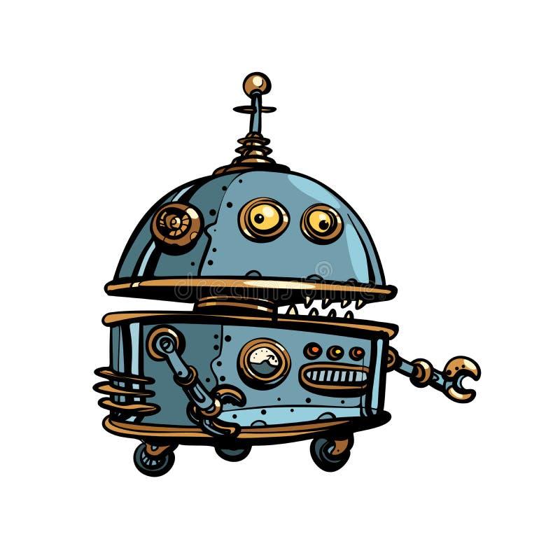 Rolig rund robot, retro cyberpunk för popkonst stock illustrationer