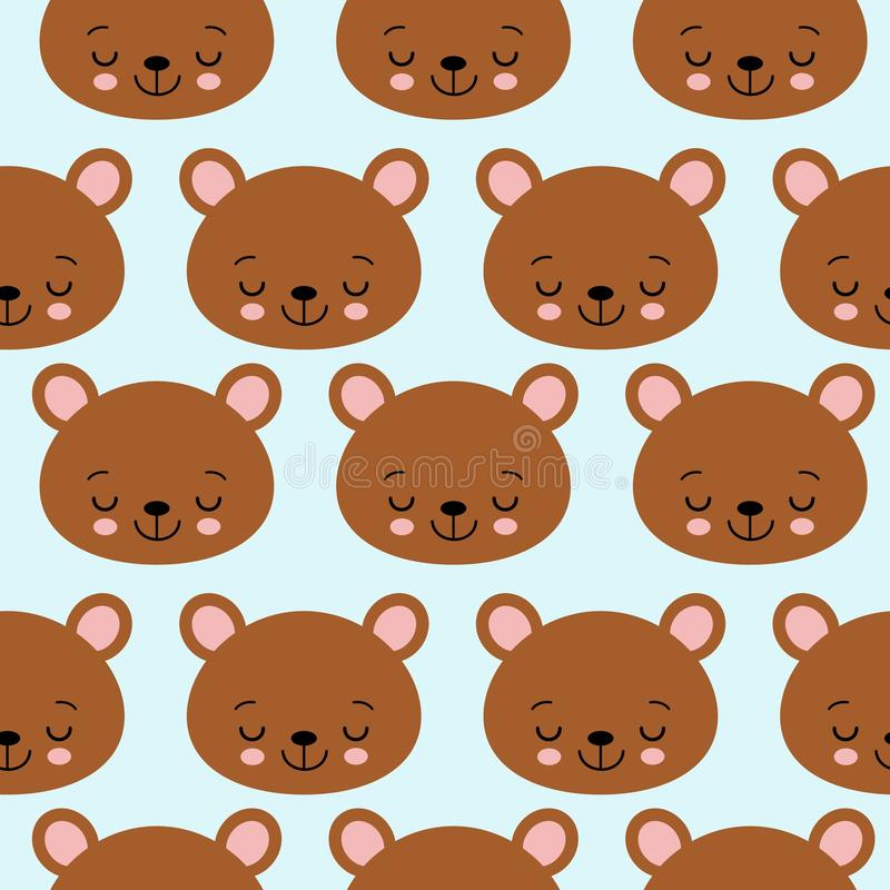 Rolig sömlös modelltexturdesign som sover björnar för bild för barntemavektor vektor illustrationer