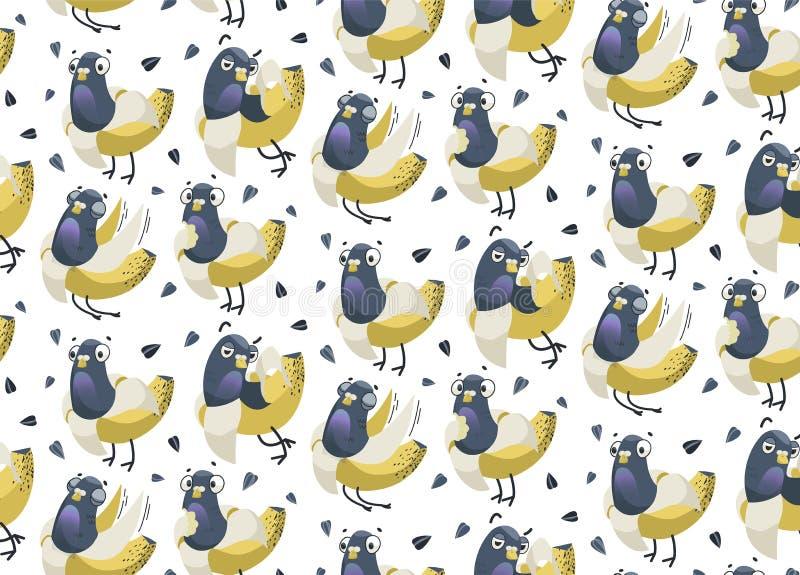 Rolig sömlös vektorbakgrund med duva-bananer och solrosfrö royaltyfri illustrationer