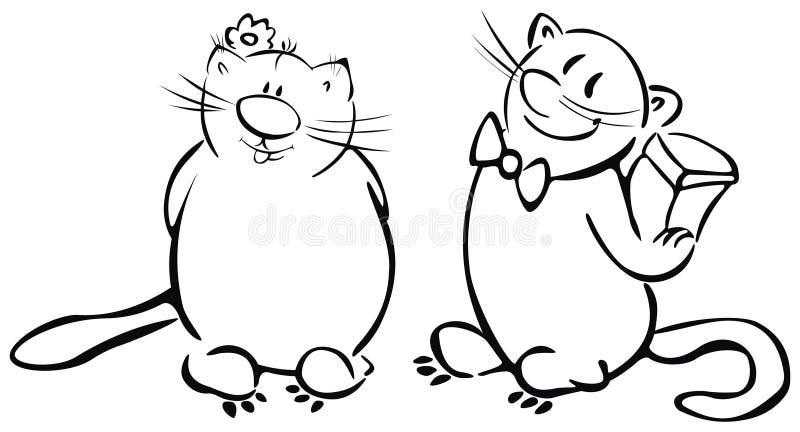 rolig s valentin för kattdag vektor illustrationer
