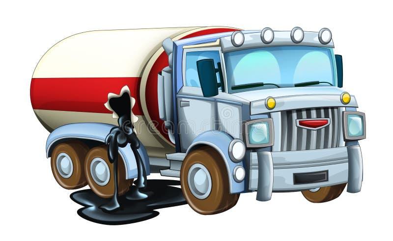 Rolig seende cisternlastbil för tecknad film som läcker olja stock illustrationer