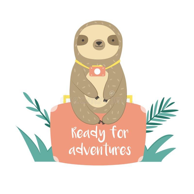 Rolig sengångare i djungler som sitter på resväskan royaltyfri illustrationer