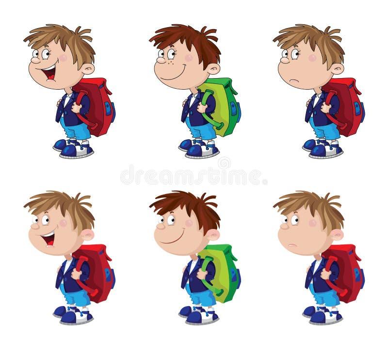 Rolig set för Schoolboy stock illustrationer