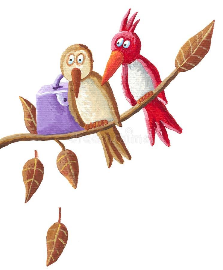 rolig sitting för fågelfilial royaltyfri illustrationer