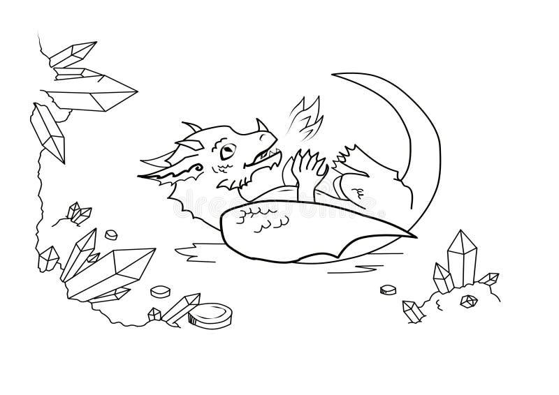 Rolig skämtsam drake i grottan stock illustrationer
