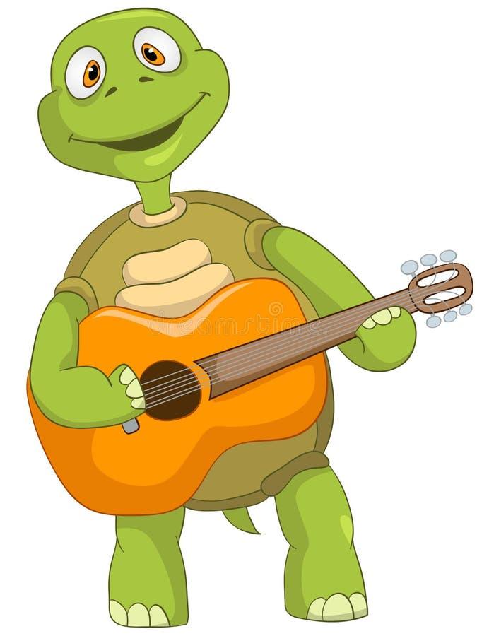 Rolig sköldpadda. Gitarrist. royaltyfri illustrationer