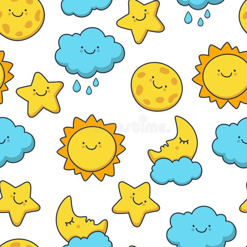 Rolig skissa stjärna, sol, moln, måne Sömlös tecknad film för vektor vektor illustrationer