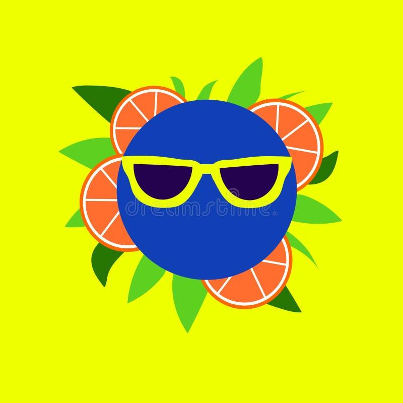 Rolig smiley för frukt i gul solglasögon royaltyfri illustrationer