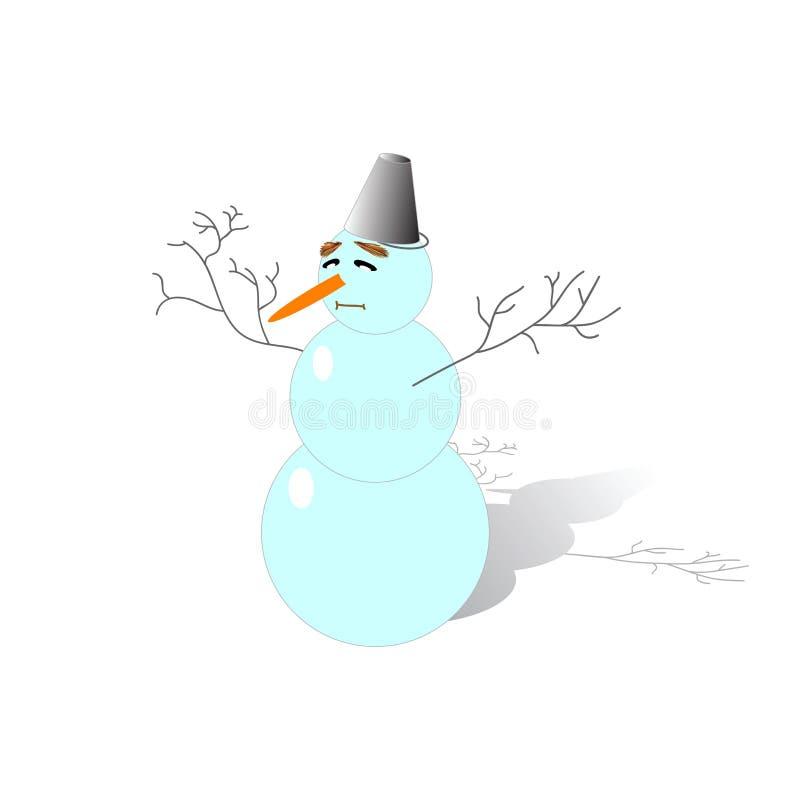 Rolig snögubbe stock illustrationer