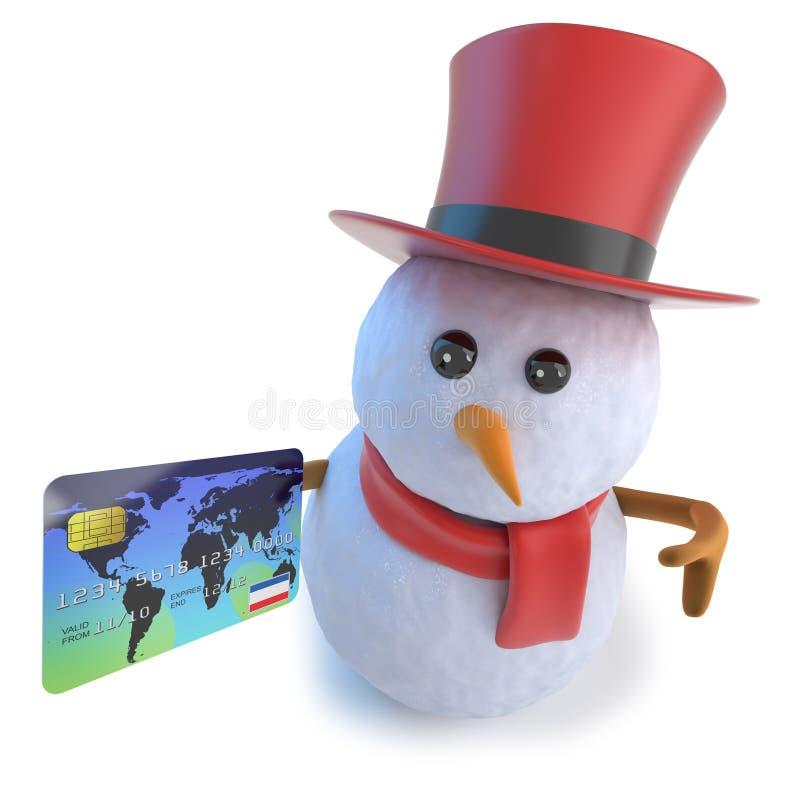 rolig snögubbe för tecknad film 3d i den bästa hatten som rymmer en kreditkort vektor illustrationer