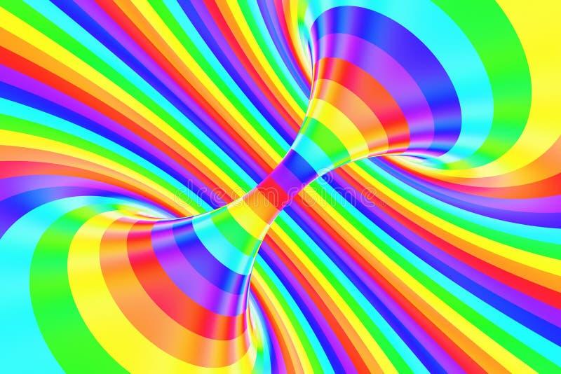 Rolig spiral tunnel för regnbåge Randig vriden gladlynt optisk illusion abstrakt bakgrund 3d framför royaltyfri illustrationer