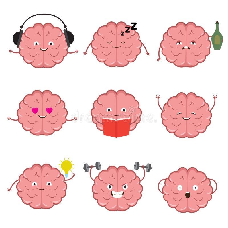 Rolig stark, sund och smart hjärna Uppsättning för tecken för tecknad film för hjärnsinnesrörelsevektor vektor illustrationer