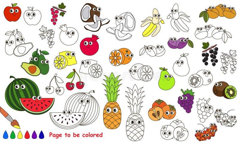 Rolig stor fruktuppsättningtecknad film Sida som ska färgas stock illustrationer